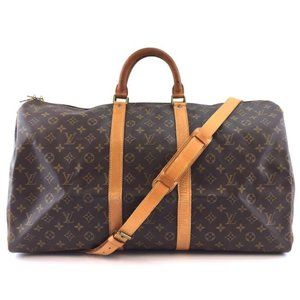 Louis Vuitton Keepall #43485 with Strap 55 Bandouliere Gym Tote Brown Monogram